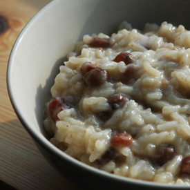 a dish of rice pudding