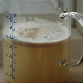 yeast proving in a jug