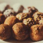a plate of chocolate truffles