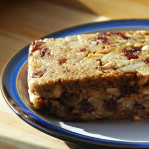 A slice of cranberry nut roast