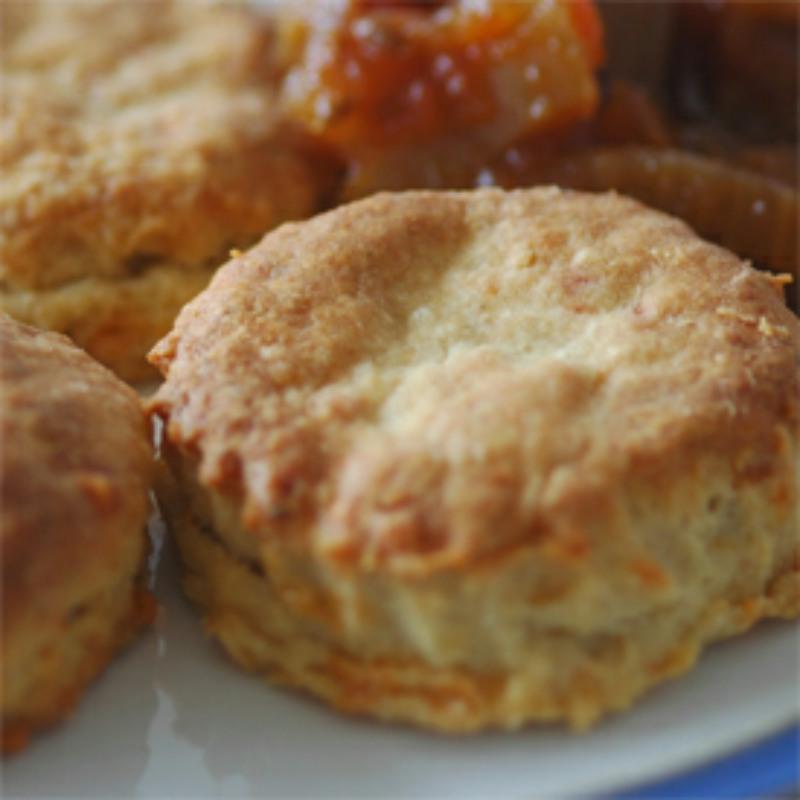a savoury scone batch, on a white plate